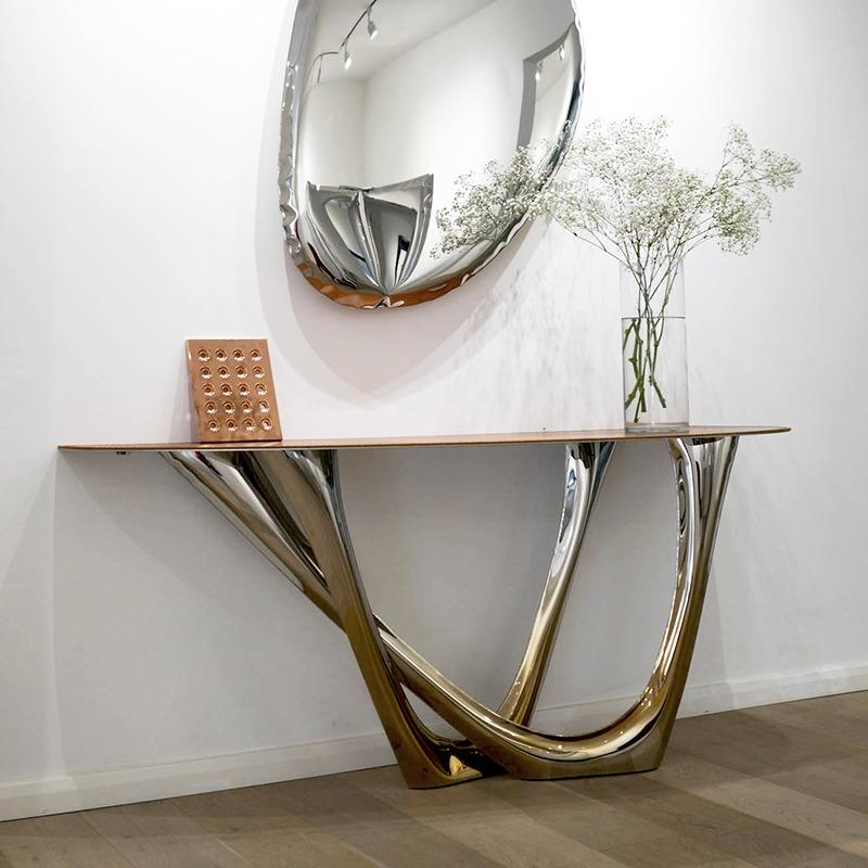 g-console duo leather heat flamed gold table tafla o mirror
