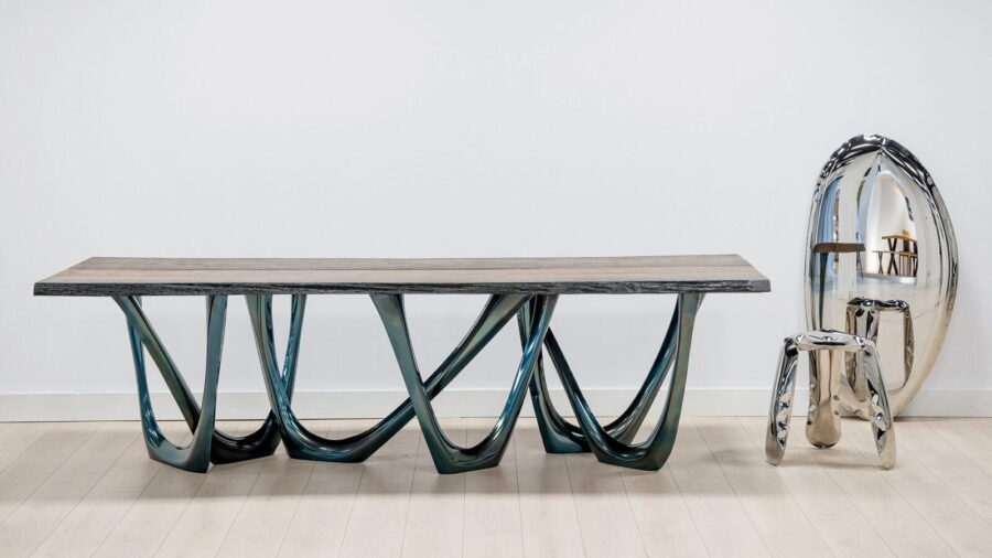 g-table heat cosmic blue black oak table top tafla o mirrorplopp