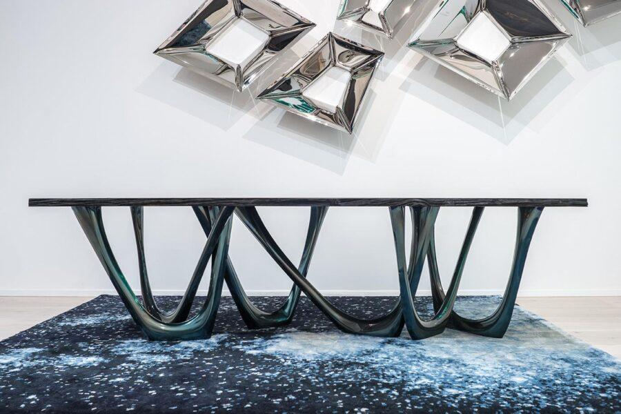 g-table heat cosmic blue black oak table top crystals
