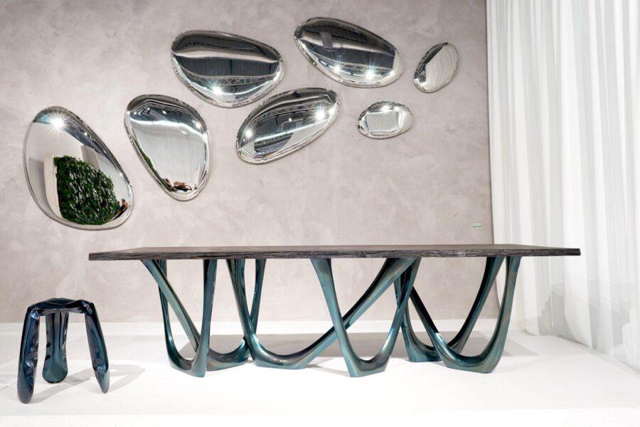 g-table heat cosmic blue black oak table top tafla o plopp