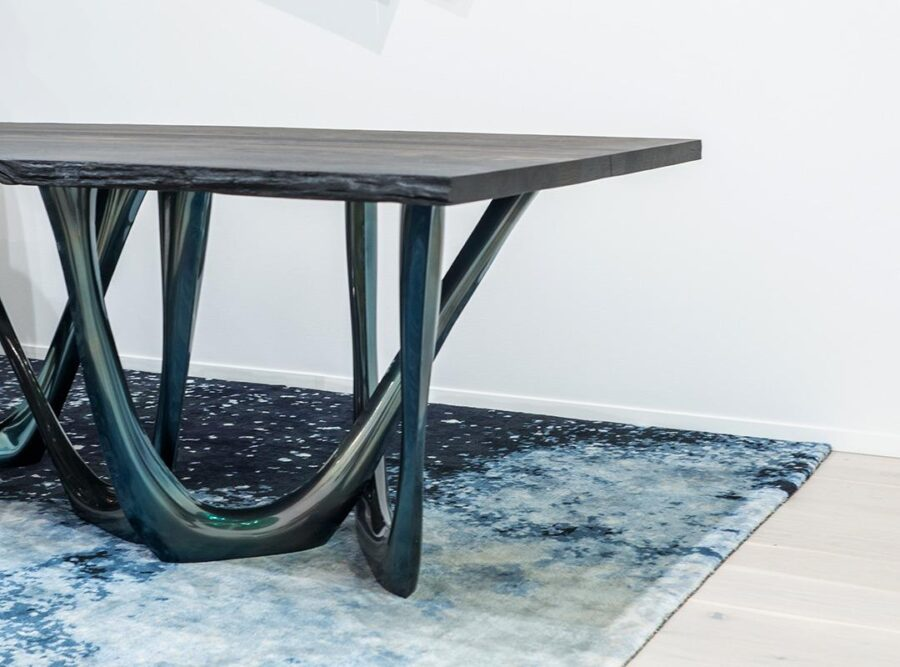g-table heat cosmic blue black oak table top