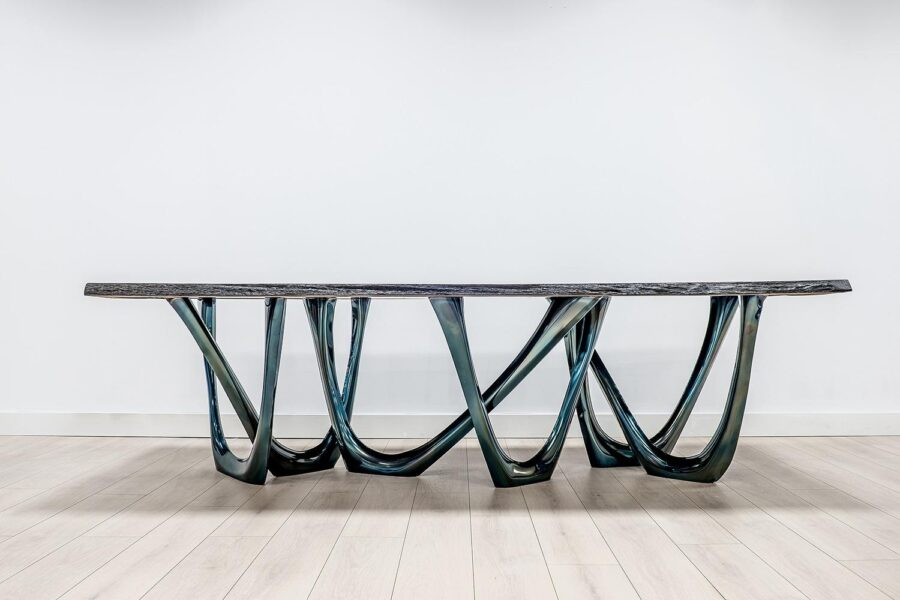 g-table heat cosmic blue black oak table top
