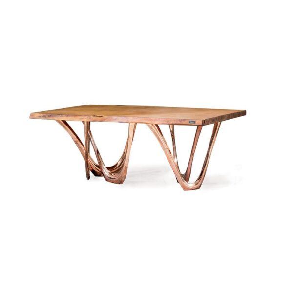g-table kauri table construction material copper table top kauri wood