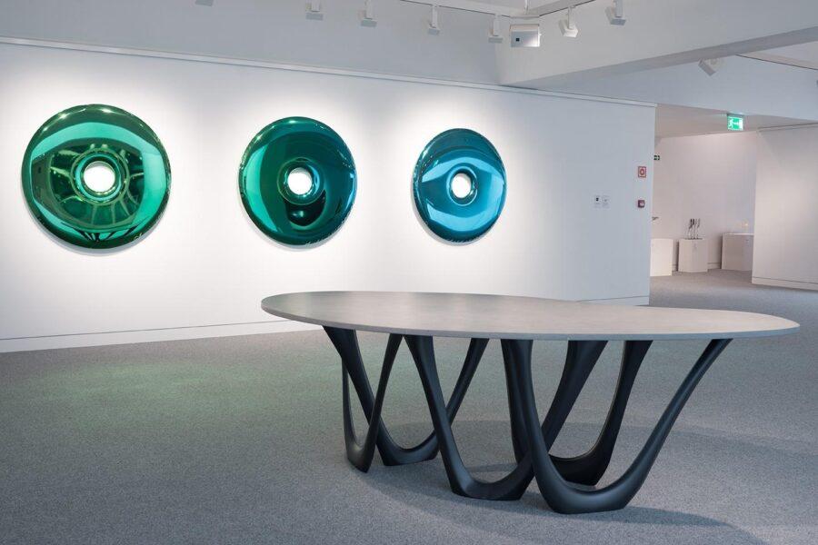 g-table concrete rondo mirror gradient emerald sapphire