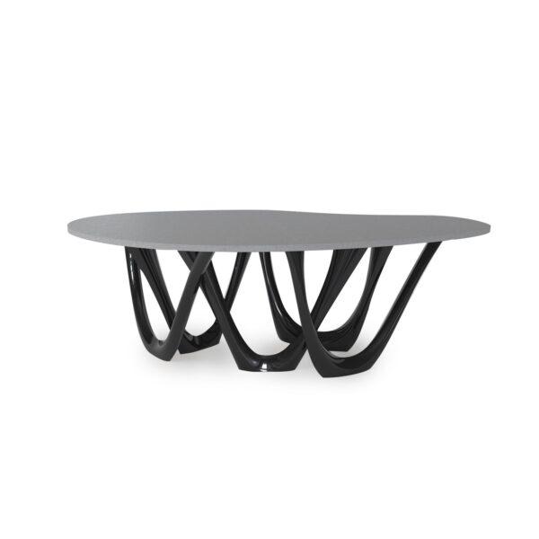 g-table concrete table construction color black glossy table top concrete