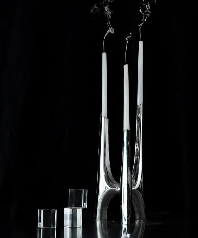 triglav candle holder candelabrum black background