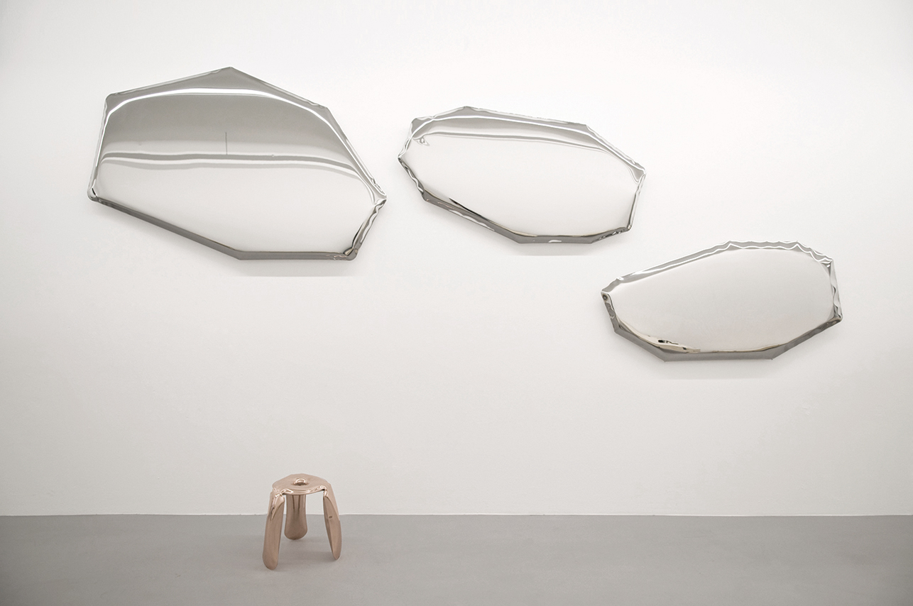 Tafla, mirror, Oskar Zieta, inflated metal, furniture, art, Metall spiegel aufgeblasener, lustro, color, miroir,